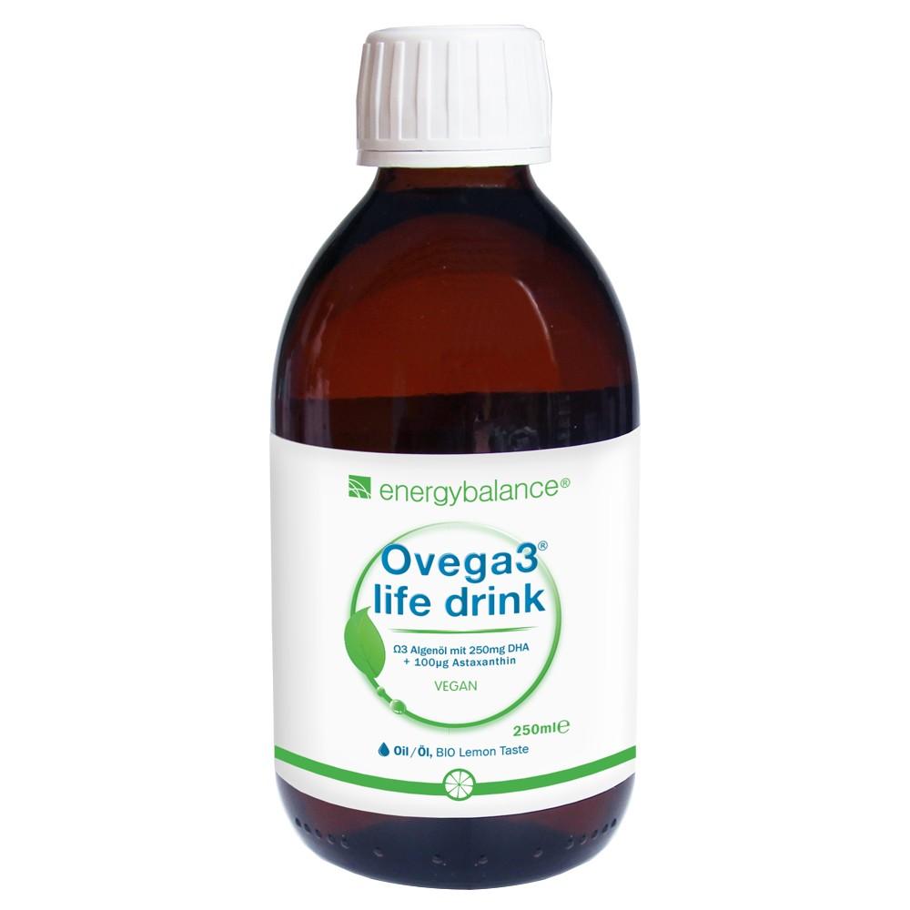 Ovega3 life drink mit DHA Algenöl und Astaxanthin mit Bio-Limone Geschmack, 250ml