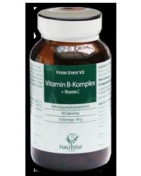 Vitamin B-Komplex+Vitamin C 1000mg FOOD STATE V2, 90 VegeTabs