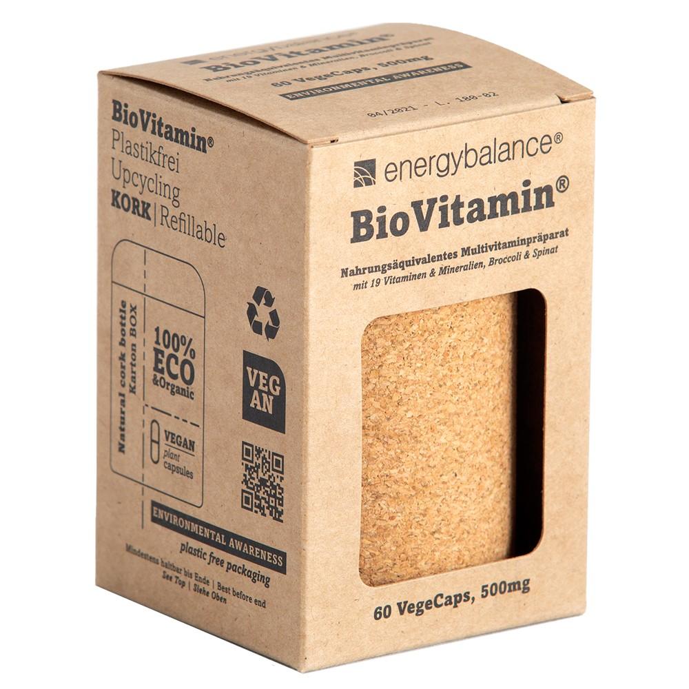 BioVitamin®, il primo integratore multivitaminico bio certificato, ecologico e ricaricabile, 60 VegeCaps da 500mg