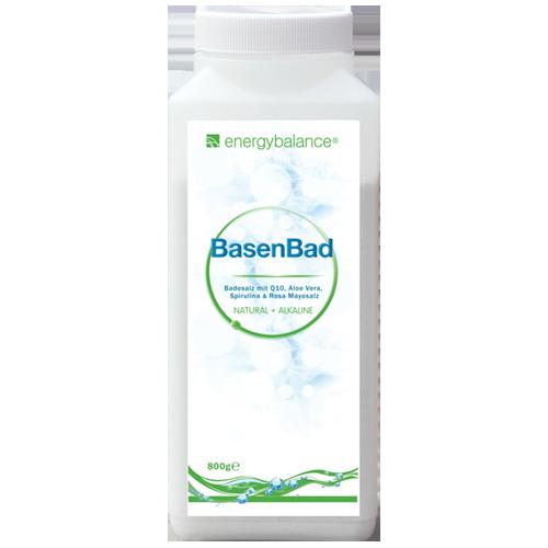 BasenBad Basisches Badesalz mit Q10, Aloe Vera, Spirulina & Rosa Mayosalz, 800g