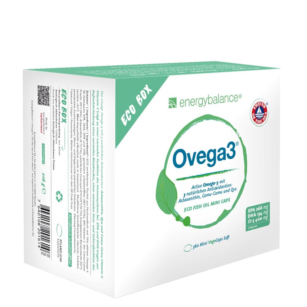Ovega3 360 fish oil capsules containing 3 natural antioxidants, astaxanthin, Q10 + vitamin C