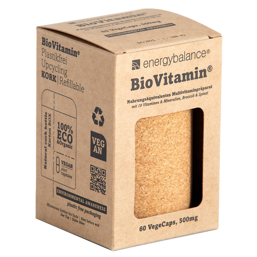 BioVitamin® the world's first ecological and bio-certified multivitamin preparation for refilling 500mg, 60 VegeCaps